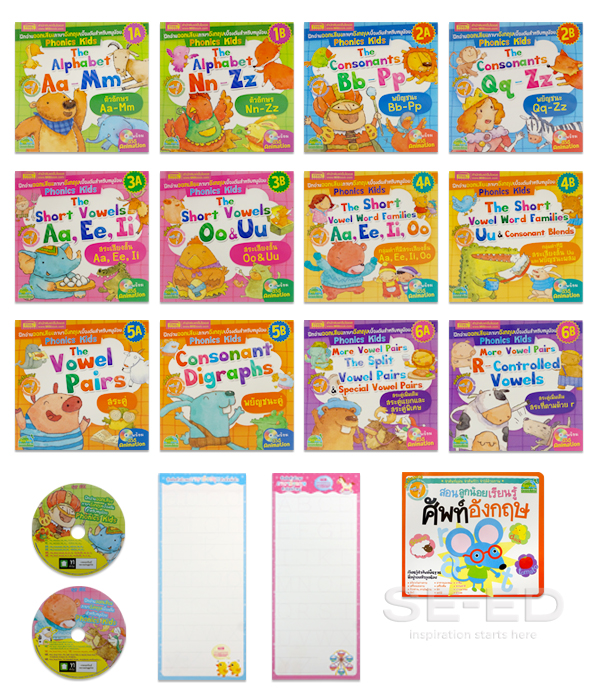 ชุด Phonics Kids ฝึกอ่านออกเสียงภาษาอังกฤษเบื้องต้นสำหรับหนูน้อย (บรรจุกล่อง : Set)