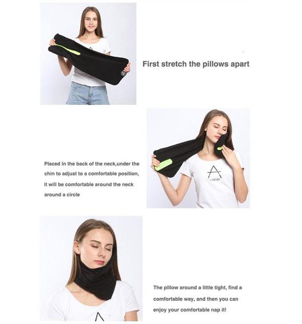 ผ้าพันคอหนุนคอ สีดำ Napscarf Neck Support Travel Pillow
