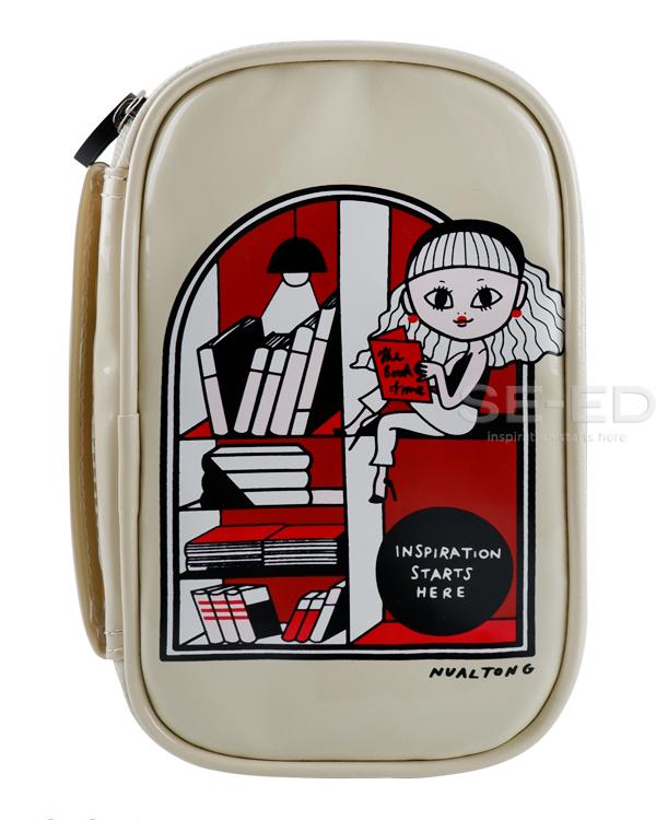 กระเป๋าหนังแก้ว ลายคุณนวล ผู้หญิง สีครีม