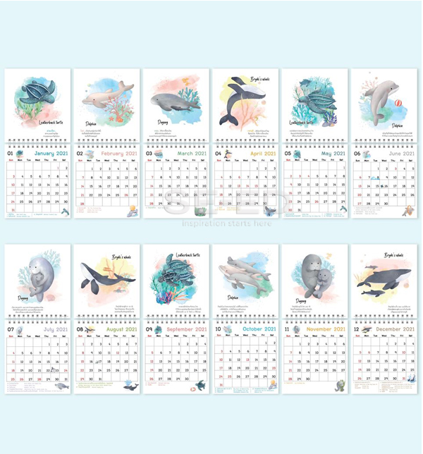 ปฏิทินตั้งโต๊ะ Mini Stand Save Sea Life ปี 2564