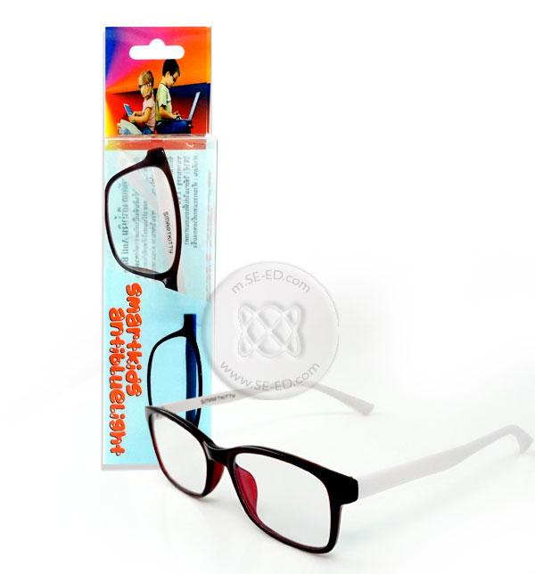 แว่นตาตัดแสงสีฟ้าเด็ก Smart Kitty กรอบดำ ขาขาว