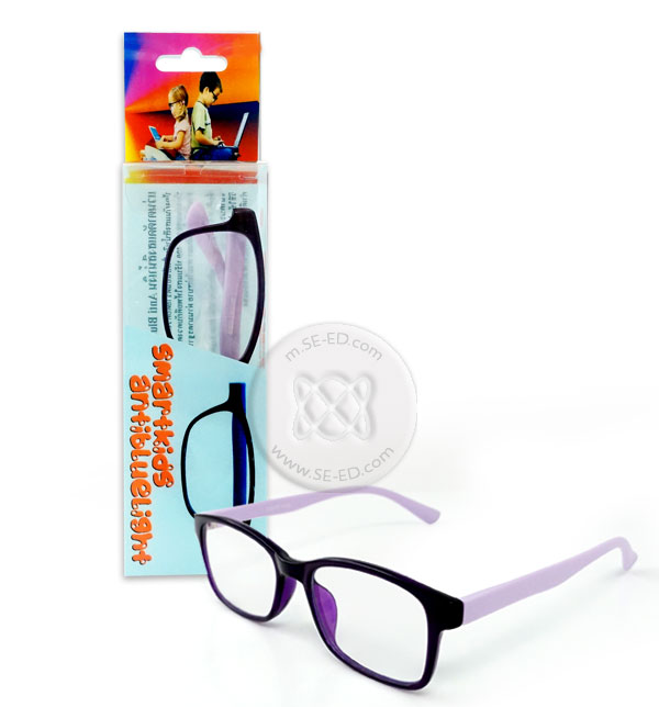 แว่นตาตัดแสงสีฟ้าเด็ก Smart Kitty กรอบดำ ขาม่วง