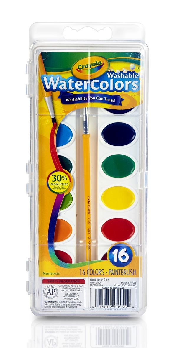 Crayola สีน้ำล้างออกได้ 16 สีพร้อมพู่กัน : 53-0555