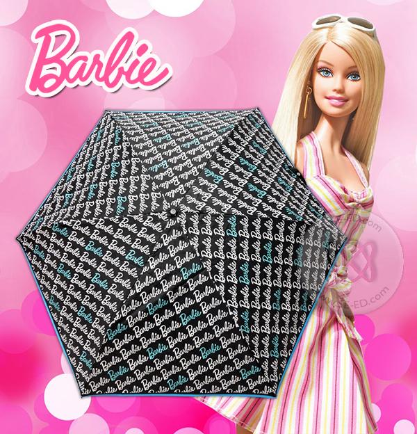 ร่มพับ 3 ตอน ปากกา Barbie 29 นิ้ว ดำพิมพ์ลาย