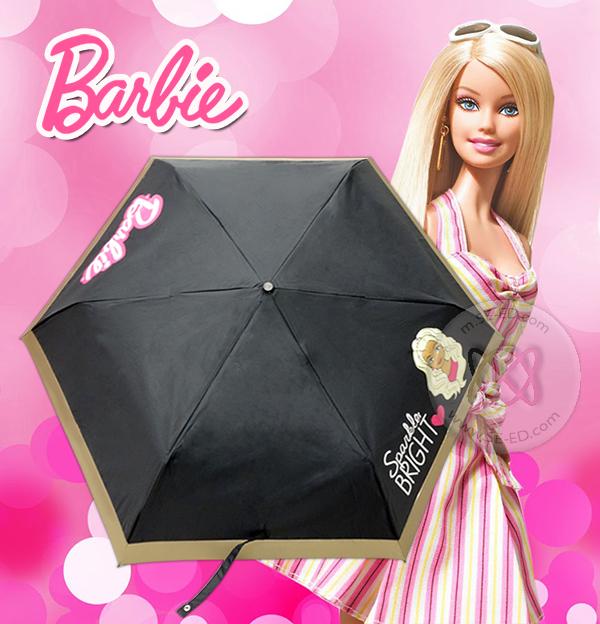 ร่มพับ 3 ตอน ปากกา Barbie 29 นิ้ว พื้นดำ