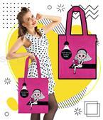 กระเป๋าผ้าแคนวาส ลายคุณนวล ผู้หญิง สีชมพู +ซับใน 600 D ขนาด 14x15x4.5 นิ้ว