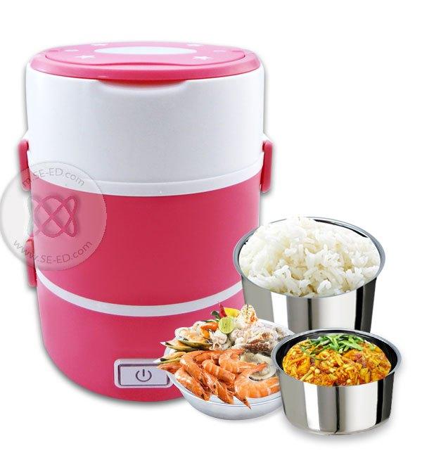 กล่องอุ่นอาหารอเนกประสงค์ Smart Lunch S-16 3 ชั้น สีชมพู 1.6 ลิตร