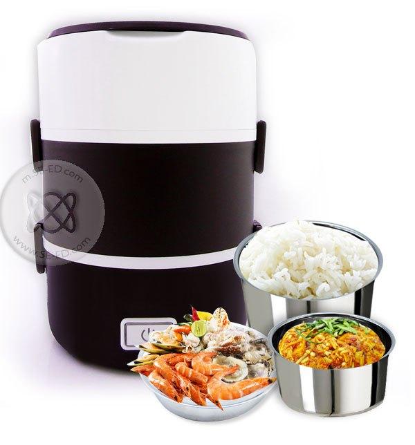 กล่องอุ่นอาหารอเนกประสงค์ Smart Lunch S-16 3 ชั้น สีน้ำตาล 1.6 ลิตร