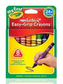 Crayola สีเทียนล้างออกได้ แท่งสามเหลี่ยม 8 สี : 81-1308