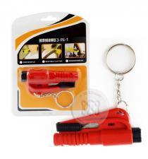 พวงกุญแจนิรภัย 3 in 1 สำหรับทุบกระจก ตัดสายเข็มขัดนิรภัย นกหวีด สีแดง Emergency Life-Saving with Keychain