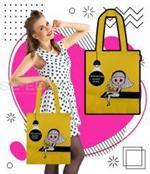 กระเป๋าผ้าแคนวาส ลายคุณนวล ผู้หญิง สีเหลือง +ซับใน 600 D ขนาด 14x15x4.5 นิ้ว