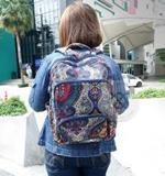 กระเป๋าเป้ Boho Bag ลายสีน้ำเงิน-ส้ม