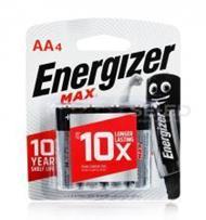ถ่านอัลคาไลน์ เอเนอไจเซอร์แม๊กซ์ E91 AA แพ็ก 4 ก้อน (Energizer Max Alkaline E91 AA BP4)