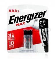 ถ่านอัลคาไลน์ เอเนอไจเซอร์แม๊กซ์ E92 AAA แพ็ก 2 ก้อน (Energizer Max Alkaline E9 AAA BP2)
