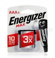 ถ่านอัลคาไลน์ เอเนอไจเซอร์แม๊กซ์ E92 AAA แพ็ก 4 ก้อน (Energizer Max Alkaline E92 AAA BP4)